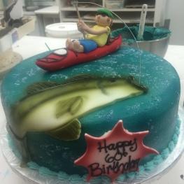 Bass Fishing Cake w/ 3D Man in Boat