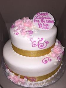 2 Tier Bridal Shower w/ Pink Scrolls